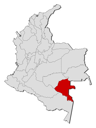 Map of Colombia with the provinces, Vaupes is highlighted. Illustration