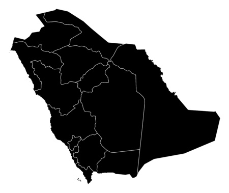 frontiers: Map of Saudi Arabia in black with the provinces.
