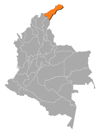 Map of Colombia with the provinces, La Guajira?? is highlighted by orange. Illustration