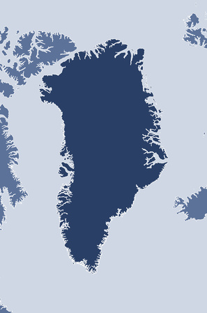 Map of Greenland and nearby countries, Greenland is highlighted.
