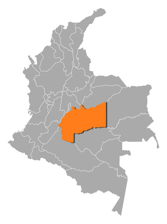 meta: Map of Colombia with the provinces, Meta is highlighted by orange. Illustration