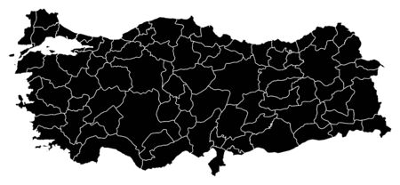Map of Turkey in black with the provinces. 矢量图像