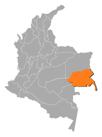 Map of Colombia with the provinces, Guainia is highlighted by orange.