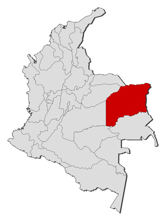 Map of Colombia with the provinces, Vichada is highlighted.