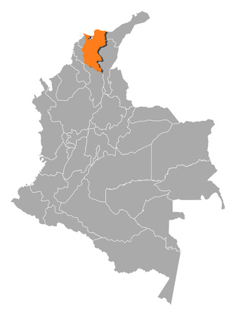 Map of Colombia with the provinces, Magdalena is highlighted by orange.