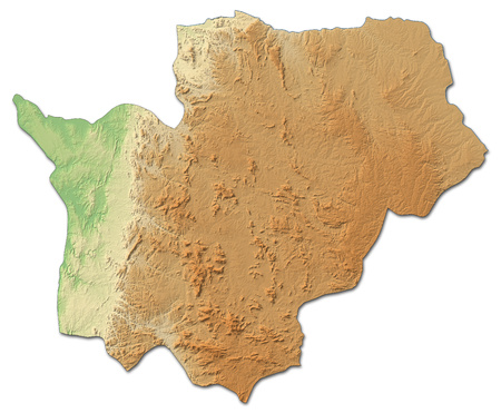 ngola: Relief map of Cuanza Sul, a province of Angola, with shaded relief. Stock Photo