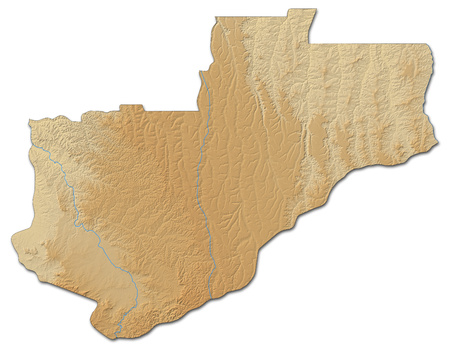 shaded: Relief map of Lunda Norte, a province of Angola, with shaded relief. Stock Photo