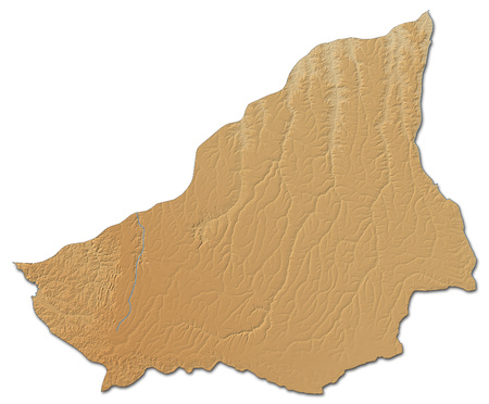 ngola: Relief map of Lunda Sul, a province of Angola, with shaded relief. Stock Photo
