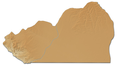 shaded: Relief map of Cunene, a province of Angola, with shaded relief. Stock Photo
