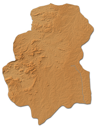 shaded: Relief map of Huambo, a province of Angola, with shaded relief. Stock Photo