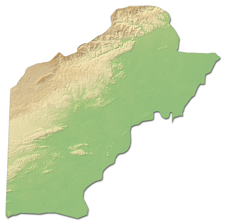 Relief map of Toledo, a province of Belize, with shaded relief.