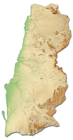 Relief map of Namibe, a province of Angola, with shaded relief.