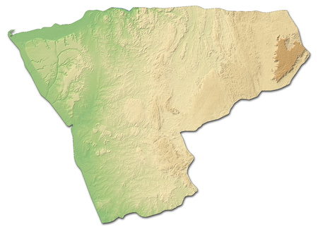 zaire: Relief map of Zaire, a province of Angola, with shaded relief.