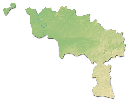 Relief map of Hainaut, a province of Belgium, with shaded relief.