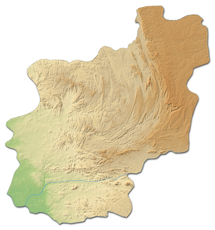 Relief map of Cuanza Norte, a province of Angola, with shaded relief.