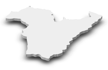 ngola: Map of Bie, a province of Angola, as a gray piece with shadow.