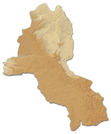 ngola: Relief map of Malanje, a province of Angola, with shaded relief.