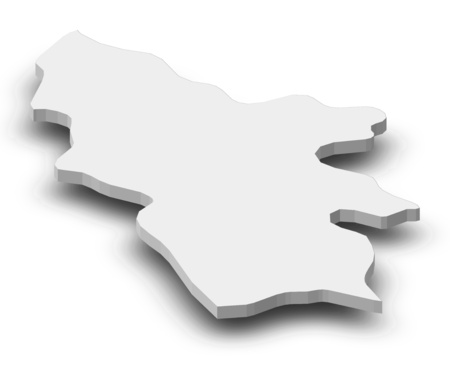 Map of Syunik, a province of Armenia, as a gray piece with shadow.