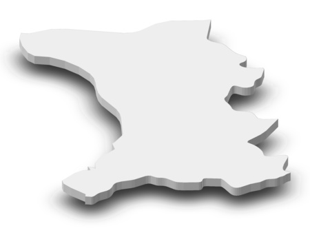 Map of Shirak, a province of Armenia, as a gray piece with shadow.