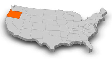 Map of United States as a gray piece, Oregon is highlighted in orange.