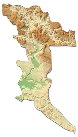 Relief map of Herzegovina-Neretva, a province of Bosnia and Herzegovina, with shaded relief. Stock Photo