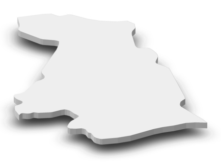 Map of Kotayk, a province of Armenia, as a gray piece with shadow.