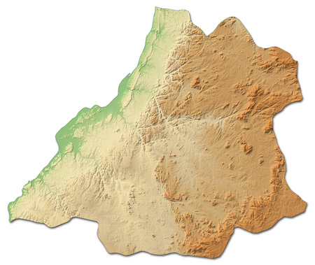 Relief map of Benguela, a province of Angola, with shaded relief.