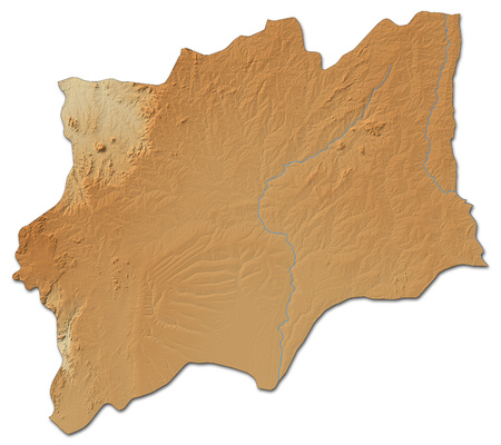 ngola: Relief map of Huila, a province of Angola, with shaded relief. Stock Photo