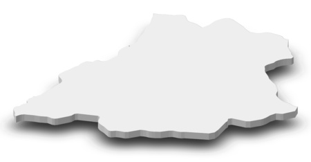 ngola: Map of Benguela, a province of Angola, as a gray piece with shadow.