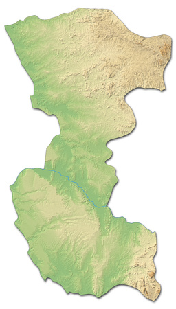 ngola: Relief map of Bengo, a province of Angola, with shaded relief.