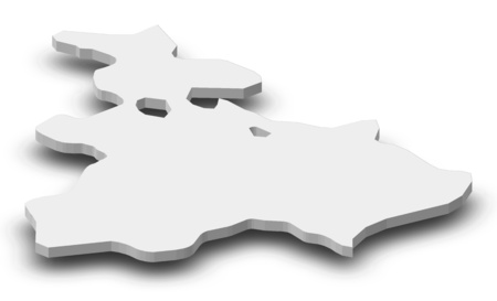 Map of Tavush, a province of Armenia, as a gray piece with shadow. Stock Photo