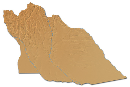 ngola: Relief map of Cuando Cubango, a province of Angola, with shaded relief.