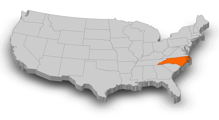 Map of United States as a gray piece, North Carolina is highlighted in orange.