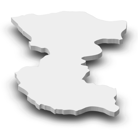 ngola: Map of Bengo, a province of Angola, as a gray piece with shadow.