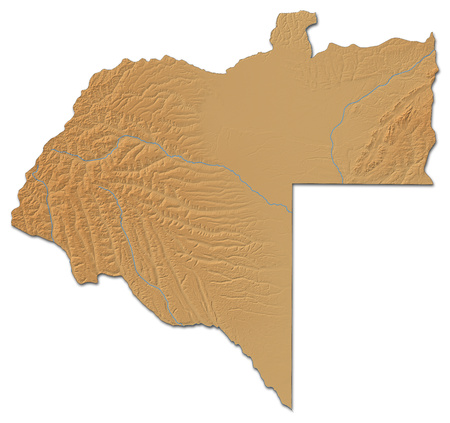 ngola: Relief map of Moxico, a province of Angola, with shaded relief. Stock Photo