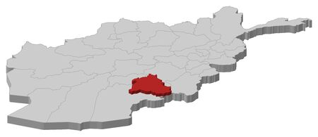 Map of Afghanistan as a gray piece, Zabul is highlighted in red.