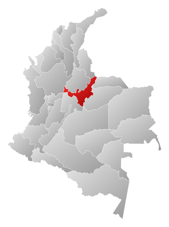 Map of Colombia with the provinces, filled with a linear gradient, Boyaca is highlighted.