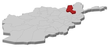 Map of Afghanistan as a gray piece, Takhar is highlighted in red.