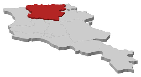 Map of Armenia as a gray piece, Lori is highlighted in red. Illustration