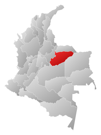 Map of Colombia with the provinces, filled with a linear gradient, Casanare is highlighted. 矢量图像