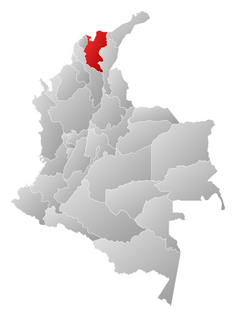 Map of Colombia with the provinces, filled with a linear gradient, Magdalena is highlighted.