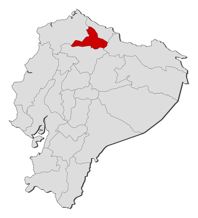 Map of Ecuador with the provinces, Imbabura is highlighted. Illustration