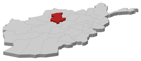 Map of Afghanistan as a gray piece, Sar-e Pol is highlighted in red. Illustration