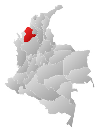 Map of Colombia with the provinces, filled with a linear gradient, Cordoba is highlighted.