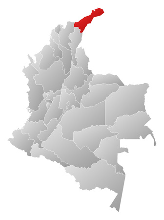 Map of Colombia with the provinces, filled with a linear gradient, La Guajira?? is highlighted.