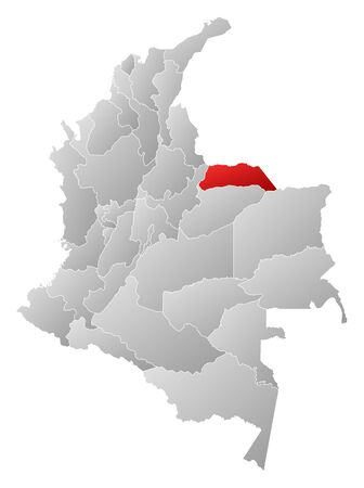 Map of Colombia with the provinces, filled with a linear gradient, Arauca is highlighted.