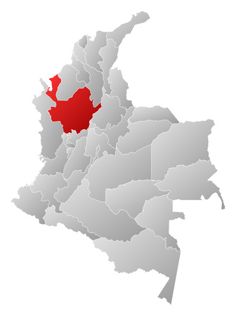 Map of Colombia with the provinces, filled with a linear gradient, Antioquia is highlighted.