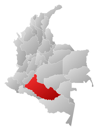 Map of Colombia with the provinces, filled with a linear gradient, Caqueta is highlighted.