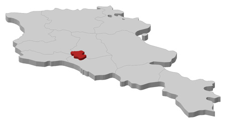 Map of Armenia as a gray piece, Yerevan is highlighted in red. Illustration
