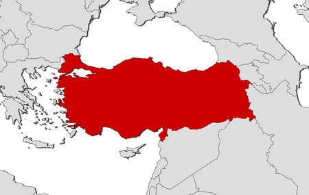 Map of Turkey and nearby countries, Turkey is highlighted in red.